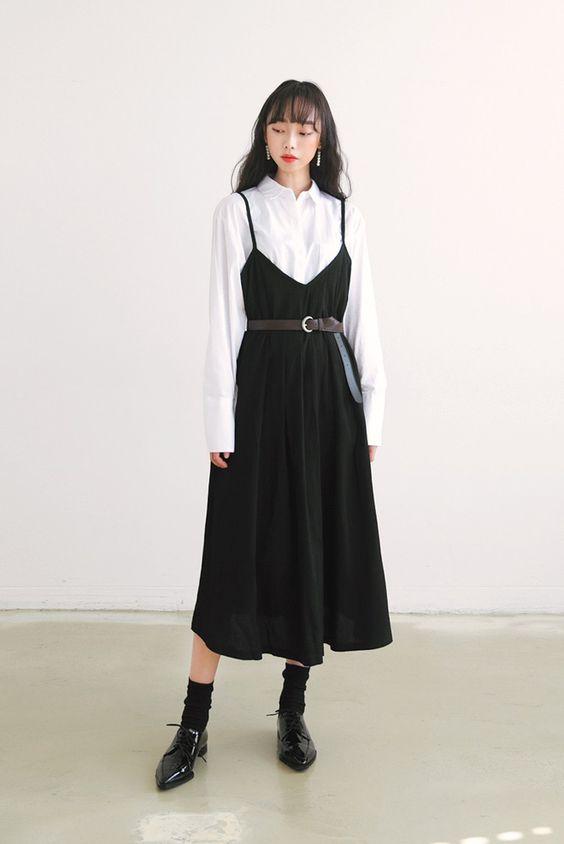 Áo sơ mi trắng + Váy Yếm dài